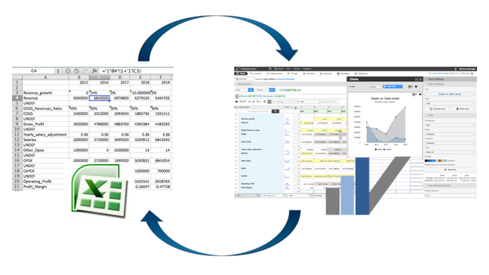 You can start from scratch in Visyond or import from Excel