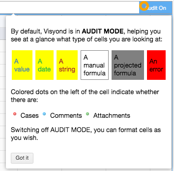 Audit Mode Formatting as described in the in-app Hint panel